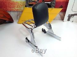 06-17 OEM Harley Softail Fat Boy Detachable Sissy Bar Backrest & Rack Chrome