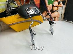 09-20 OEM Harley Touring Detachable Chrome Sissy Bar Passenger Backrest Pad