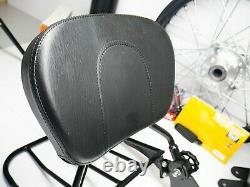 09-21 Harley CVO Touring Detachable Leather Black Sissy Bar Passenger Backrest