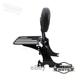 1X Black Sissy Bar Passenger Backrest Luggage Rack For Harley Iron 883 XL883N