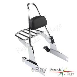 1x Detachable Sissy Bar Backrest+Steel Luggage Rack For Harley FXDF 2008 2009