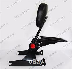 Adjustable Detachable Backrest Sissy Bar Luggage Rack For Harley Dyna 06up Black