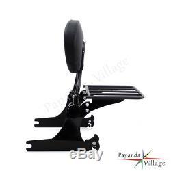 Adjustable Detachable Backrest Sissy Bar & Luggage Rack For Harley Dyna Model