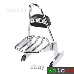 Adjustable Detachable Backrest Sissy Bar Luggage Rack For Harley Softail -Chrome