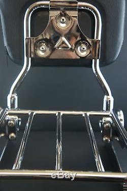 Adjustable Detachable Backrest Sissy Bar Luggage Rack Harley Davidson Dyna 06up