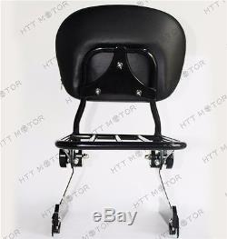 Adjustable Detachable Backrest Sissy Bar Luggage rack For Harley Dyna 02-05 Blac