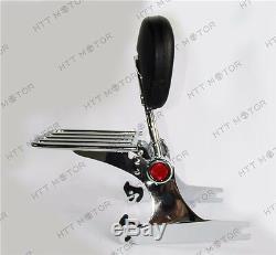 Adjustable Detachable Backrest Sissy Bar Luggage rack For Harley Dyna 02-19 Chro