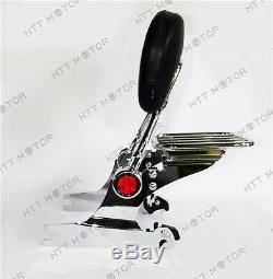 Adjustable Detachable Backrest Sissy Bar With Luggage Rack for Harley DELUXE 06-17
