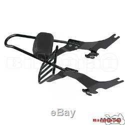 Backrest Pad Sissy Bar Rear Luggage Rack for Harley Sportster XL883 1200 2004-Up