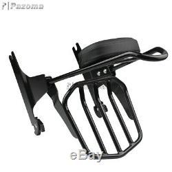 Backrest Sissy Bar Luggage Rack with Passenger Pad For Harley Softail Slim FLS 00