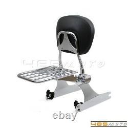 Backrest Sissy Bar Passenger withLuggage Rack For Harley Dyna Super Glide Chrome