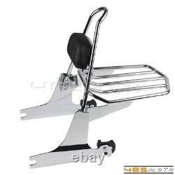 Backrest Sissy Bar With Pad Luggage Rack For Harley Softail Standard FXST 06-20