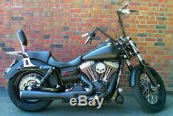 Black 2006+ Harley Dyna Quick Release Back Rest Sissybar Rear Carrier Street Bob