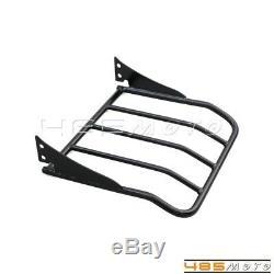 Black Adjustable Backrest Sissy Bar & Luggage Rack For Harley Touring Glide 09