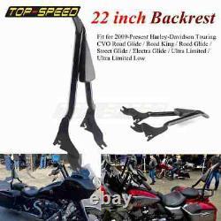 Black Backrest Sissy Bar For Harley Touring Road King Street Electra Glide 09-21