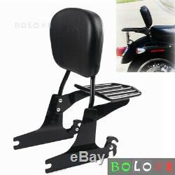 Black Backrest Sissy Bar & Luggage Rack For Harley Dyna Fat Bob FXDF 2008-2019