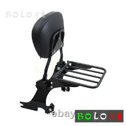 Black Backrest Sissy Bar & Luggage Rack For Harley Forty Eight XL1200X 2010-2017