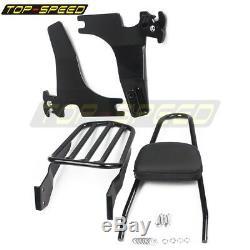 Black Backrest Sissy Bar Luggage Rack Kit for Harley Sportster XL 883 1200 04-up