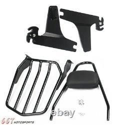 Black Backrest Sissy Bar Luggage Rack for Harley Fatboy FLSTF 07-17 Softail FXST