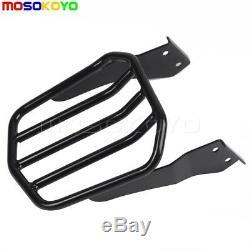 Black Backrest Sissy Bar Pad Detachable Luggage Rack Kit For Harley Dyna 2006-UP