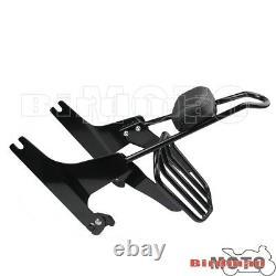 Black Backrest Sissy Bar Pad Rear Luggage Rack Kit For Harley Softail 2000-UP
