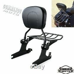 Black Detachable Backrest Sissy Bar & Luggage Rack Fit For Harley Softail Model
