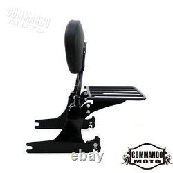 Black Detachable Backrest Sissy Bar Luggage Rack For Harley Dyna Low Rider 06-17