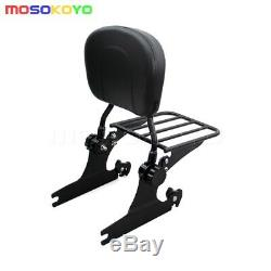 Black Detachable Backrest Sissy Bar Luggage Rack For Harley Night Train Softail