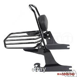 Black Detachable Backrest Sissy Bar Luggage Rack For Harley Softail FatBoy 05-UP