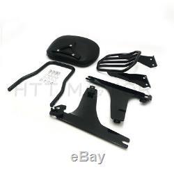 Black Detachable Backrest Sissy Bar Passenger Luggage Rack For Harley Dyna 06-up