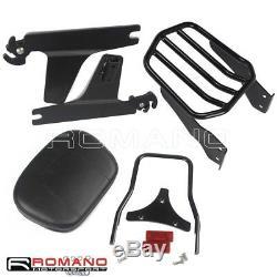 Black Detachable Sissy Bar Backrest Luggage Rack For Harley Dyna FXD 2006-UP