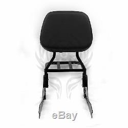 Black Detachable Sissy Bar Backrest & Luggage Rack for Harley FATBOY FLSTF 00-06