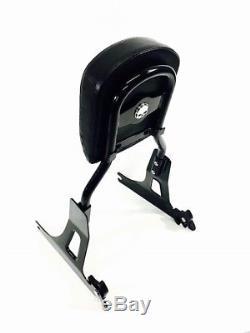Black Harley Detachable Dyna Backrest Sissy Bar Super Glide 2006-2017 Wide-2009