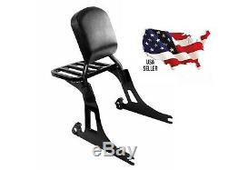 Black Harley Dyna Backrest Sissy Bar & Rear Carrier Super Wide Glide Street Bob