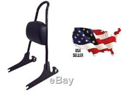 Black Harley Dyna One Piece Detachable Sissy Bar Back Rest Upright Passenger Pad