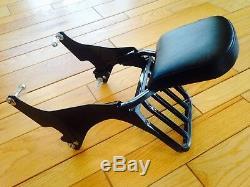 Black Harley Sportster Detachable Back Rest Backrest Luggage Rack Sissy Bar 1200