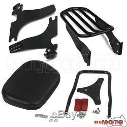 Black Luggage Rack Backrest Pad Sissy Bar For Harley Softail FatBoy FXSTB 05-UP