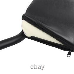Black Rear Backrest Sissy Bar Passenger Pad Cushion For Harley Fatboy 2007-up