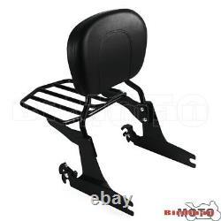 Black Rear Luggage Rack Backrest Sissy Bar For Harley Softail FatBoy FLSTF 05-UP