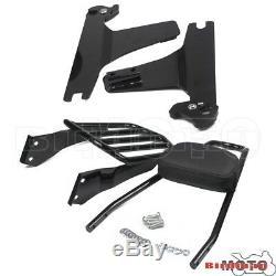 Black Rear Luggage Rack Detachable Backrest Sissy Bar Pad For Harley Dyna 06-UP