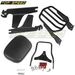 Black Rear Luggage Rack Passenger Backrest Pad Sissy Bar For Harley Dyna 02-05