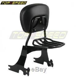 Black Rear Luggage Rack Sissy Bar Backrest for Harley Sportster XL883 1200 04-UP
