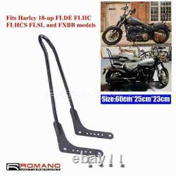 Black Short Backrest Sissy Bar For Harley Softail FLDE FLHC Street Bob FXBB 18+