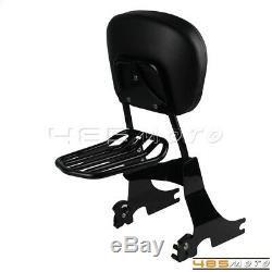 Black Sissy Bar Backrest Detachable Luggage Rack For H-D Sportster 94-03 XL1200