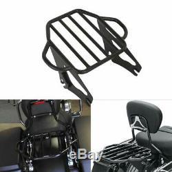 Black Sissy Bar Backrest Luggage Rack Docking Kit For Harley Touring 2014-2019