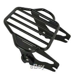 Black Sissy Bar Backrest Luggage Rack + Docking Kit For Harley Touring 2014-2019