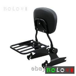 Black Sissy Bar Backrest Luggage Rack For 2000-2019 2005 Harley Softail Custom