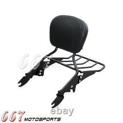 Black Sissy Bar Backrest Luggage Rack For Harley Road King Electra Glide 2009-17