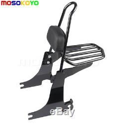 Black Sissy Bar Backrest Luggage Rack for Harley Sportster XL883 XL1200 04-16 17
