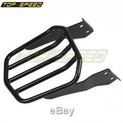 Black Sissy Bar Backrest Pad Detachable Luggage Rack Kit For Harley Dyna 2006-UP